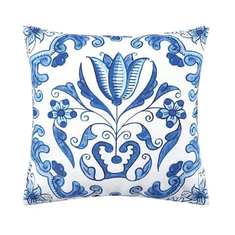 Blue White Geometric Floral Indoor/Outdoor 18x18 Throw Accent Decorative Accent Throw Pillow