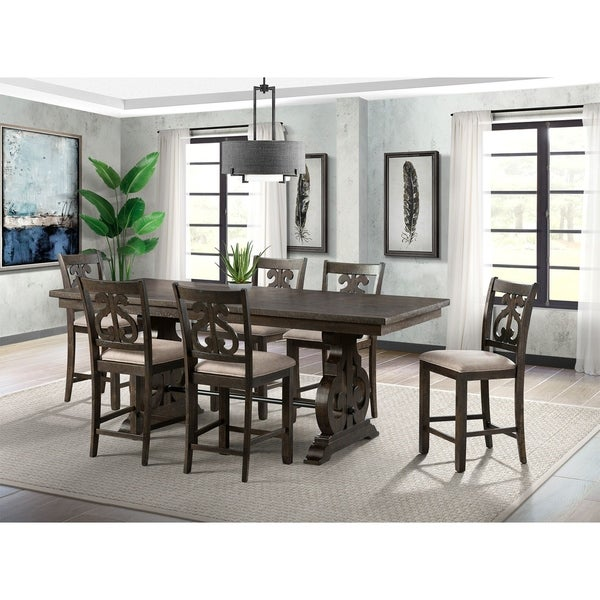 The Gray Barn Coyote Crossing Counter Height Dining Set with Swirl Back Chairs