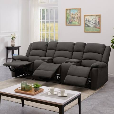 Copper Grove Geel 3-seat Velvet Recliner Sofa with Storage Console
