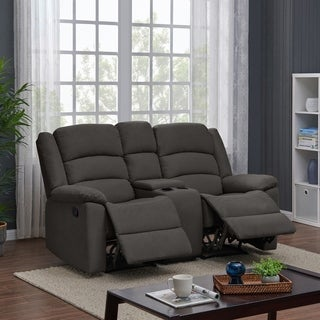 ProLounger 2 Seat Low-Pile Velvet Recliner Loveseat with Power Storage Console