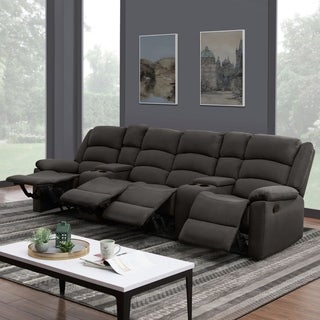 ProLounger 4 Seat Low-Pile Velvet Recliner Sofa with Power Storage Console