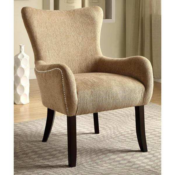Shop Casual Beige Living Room Accent Chair with Nailhead ...