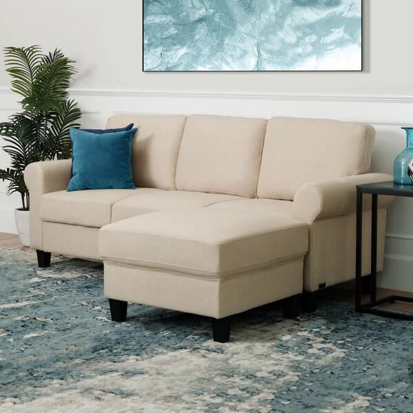 Porch & Den Warner Fabric Sofa and Ottoman Set