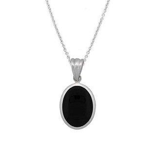 Glitzy Rocks Sterling Silver Oval Onyx Pendant Necklace