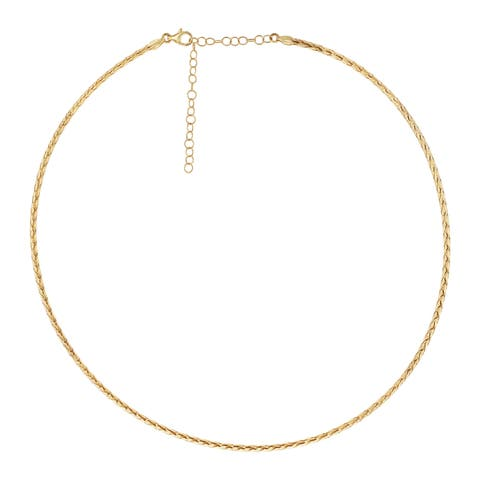 14Kt Yellow Gold 2 mm Italian Omega Necklace Adjustable 16-18 Inch