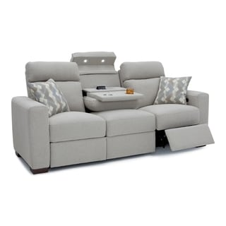 Seatcraft Capital Home Theater Seating Fabric Power Recline Sofa, Adjustable Powered Headrest, Fold-Down Table, Cup Holders