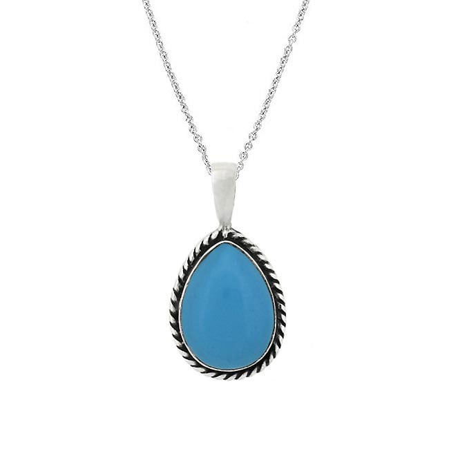Glitzy Rocks Sterling Silver Pear Shape Turquoise Pendant Necklace