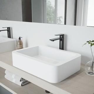 VIGO Petunia Matte Stone Vessel Bathroom Sink Set with Norfolk Faucet