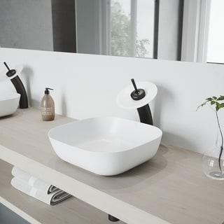 VIGO Camellia Matte Stone Vessel Sink Set with Waterfall Faucet