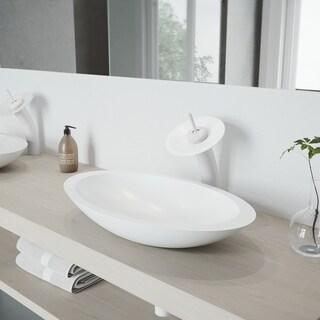 VIGO Wisteria Matte Stone Bathroom Sink Set with Waterfall Faucet