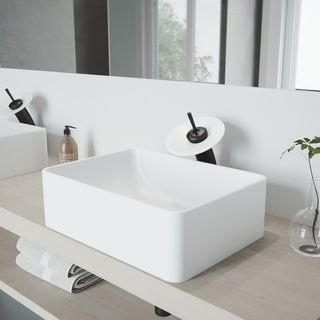 VIGO Amaryllis Matte Stone Bathroom Sink Set with Waterfall Faucet