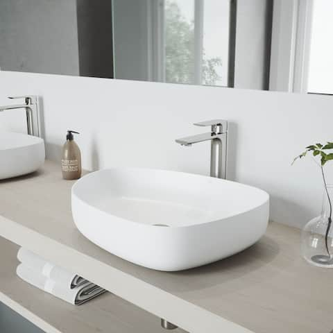 VIGO Peony Matte Stone Vessel Bathroom Sink Set with Norfolk Faucet
