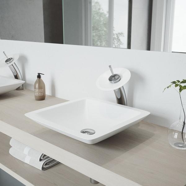 VIGO Begonia Matte Stone Vessel Bathroom Sink Set and Waterfall Faucet