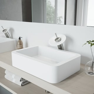 VIGO Petunia Matte Stone Vessel Bathroom Sink Set and Waterfall Faucet