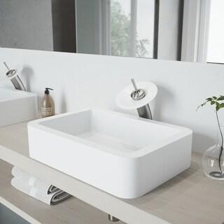 VIGO Petunia Matte Stone Vessel Bathroom Sink Set and Waterfall Faucet