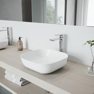 VIGO Camellia Matte Stone Vessel Bathroom Sink Set with Norfolk Faucet