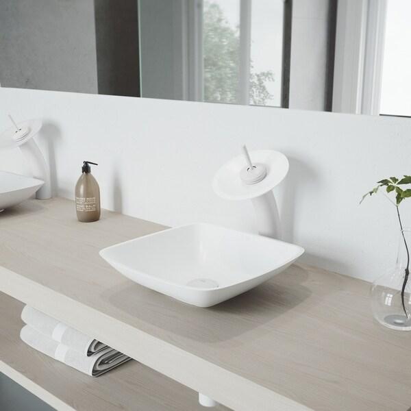 VIGO Hyacinth Matte Stone Vessel Sink Set with Waterfall Faucet