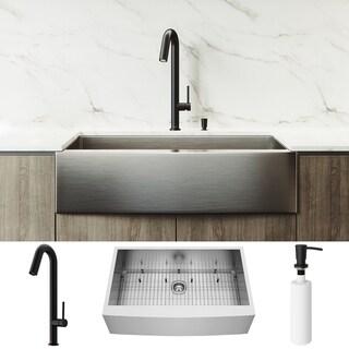 VIGO Camden Stainless Steel Kitchen Sink Set with Oakhurst LED Faucet