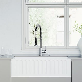VIGO White Matte Stone Kitchen Sink Set with Edison Faucet