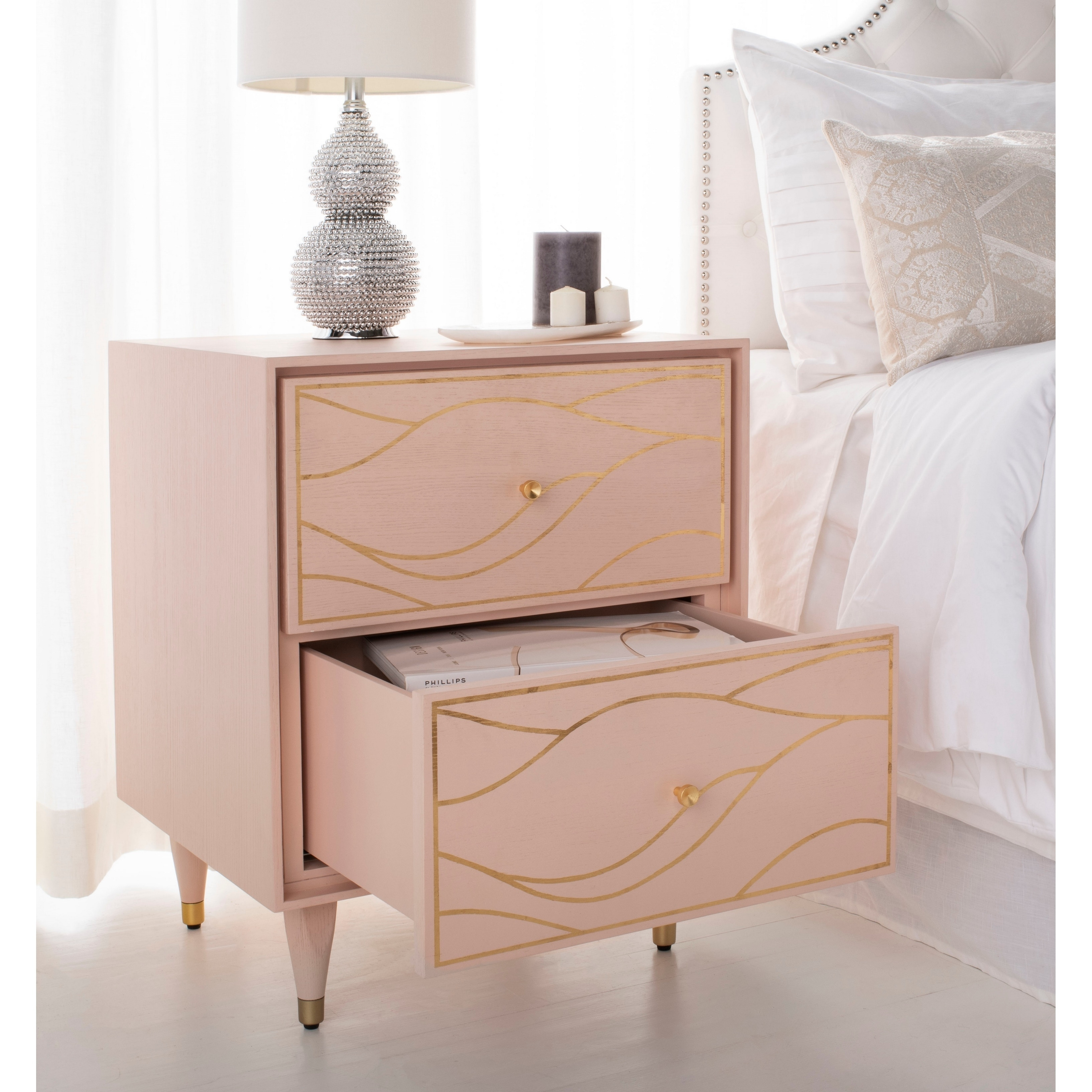 Safavieh Couture Broderick Wave Nightstand Pink Gold