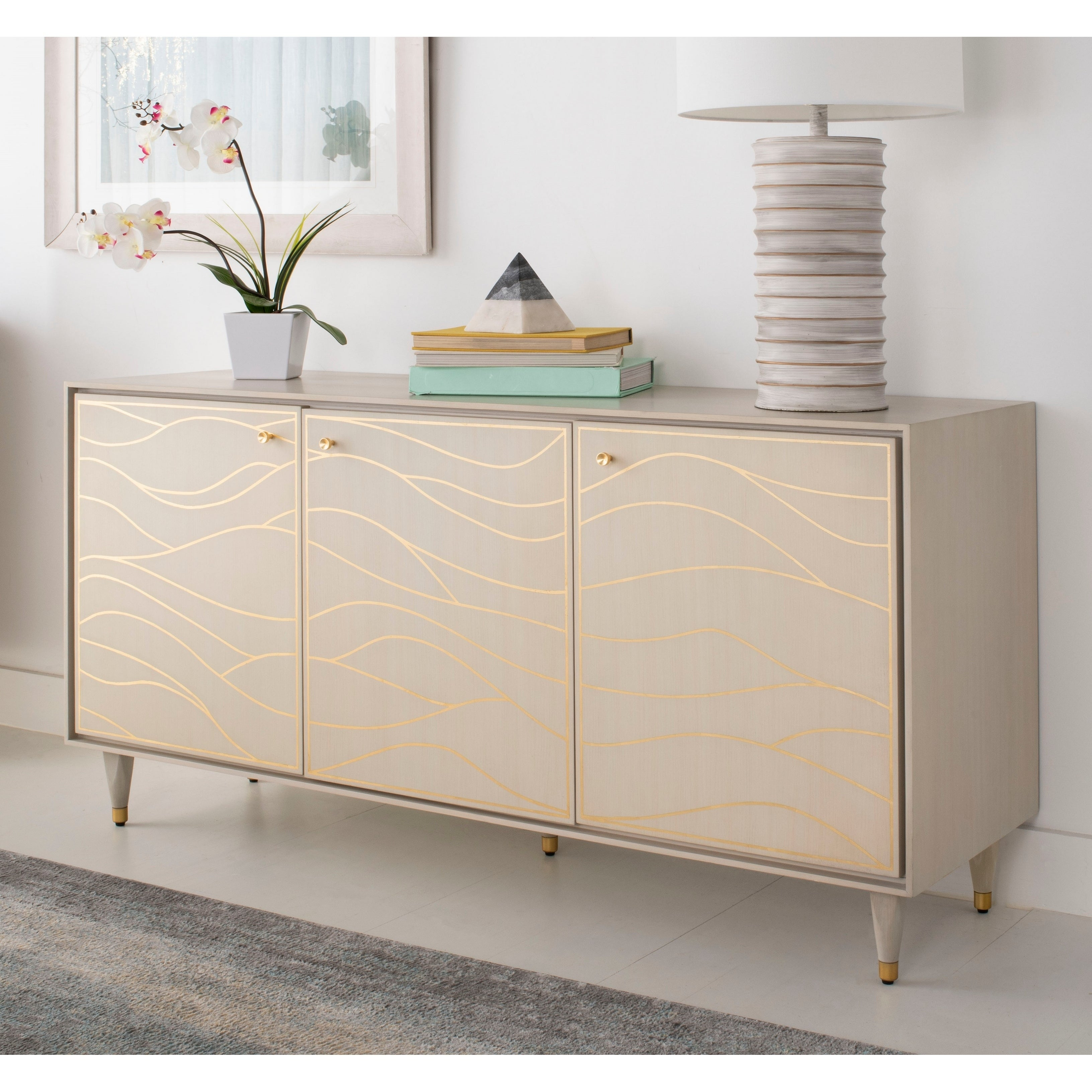 Safavieh Couture Broderick Wave Sideboard White Gold 60 X