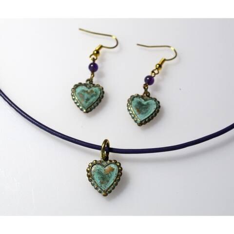 Handmade Patina Heart Pendant and Earrings Set (USA)