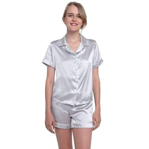 MYK 22Momme Mulberry Silk Women's Pajama Set Night Shirt and Shorts