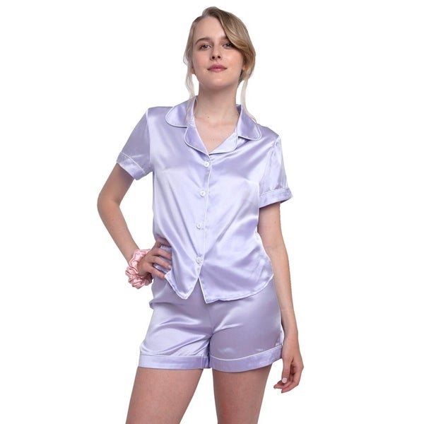 15773def4d MYK 22Momme Mulberry Silk Women  x27 s Pajama Set Night Shirt and Shorts