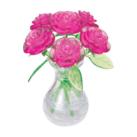 3D Crystal Puzzle - Roses in a Vase (Pink): 47 Pcs