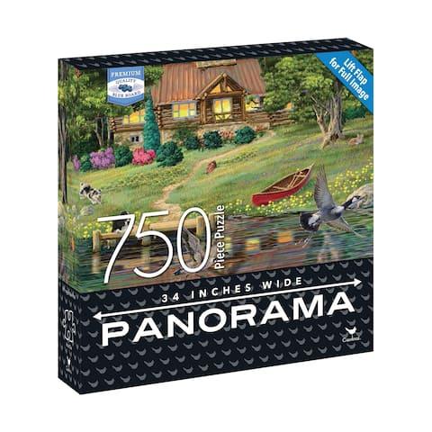 Premium Blue Board Panorama Jigsaw Puzzle - Joseph Burgess - Cabin on the Lake: 750 Pcs