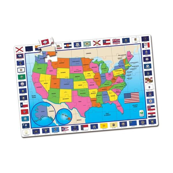 Shop Usa Map Jumbo Floor Puzzle 50 Pcs Free Shipping On