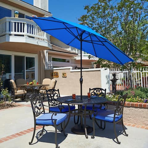 Havenside Home North Bend 7.5 Crank Lift Auto Tilt Patio Umbrella, Sunbrella Fabric