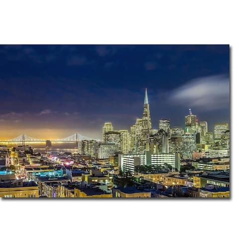 San Francisco Holiday Lights by Dave Gordon Gallery Wrapped Canvas Giclee Art (24 in x 36 in, Ready to Hang)