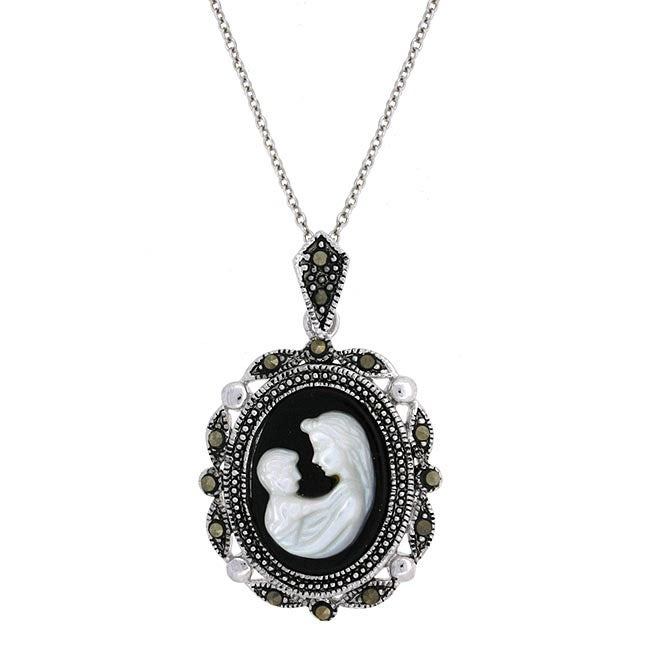 Glitzy Rocks Sterling Silver Marcasite Cameo Necklace of Mother with Child