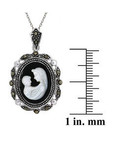 Glitzy Rocks Sterling Silver Marcasite Cameo Necklace of Mother with Child - Thumbnail 2