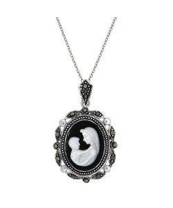 Glitzy Rocks Sterling Silver Marcasite Cameo Necklace of mother and child
