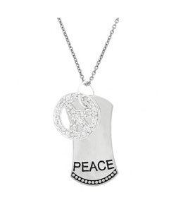 ICZ Stonez Sterling Silver CZ Inspirational Peace Necklace