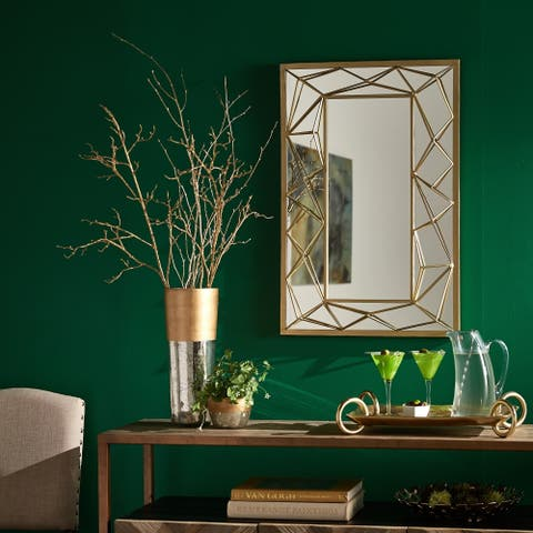 Indrani Gold Finish Rectangular Wall Mirror with Metal Geometric Frame by iNSPIRE Q Bold