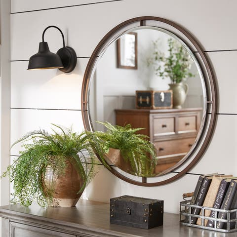 Carbon Loft Bronze Finish Floating Round Wall Mirror