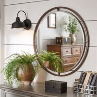 Crossly Bronze Finish Floating Round Wall Mirror by iNSPIRE Q Artisan