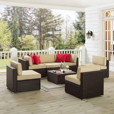 Saltiara 7-piece Brown Wicker Conversational Set by Havenside Home