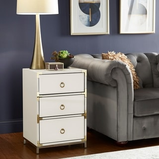 Silver Orchid Battista White Glass 3-drawer Accent Cabinet