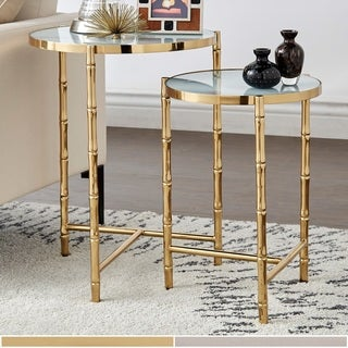 Jesenia Bamboo-look Stainless Steel Marbled Nesting Table Set by iNSPIRE Q Bold