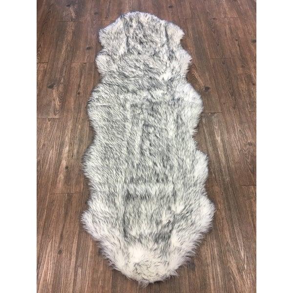 Shop White Gray 2x6 Faux Fur Rug