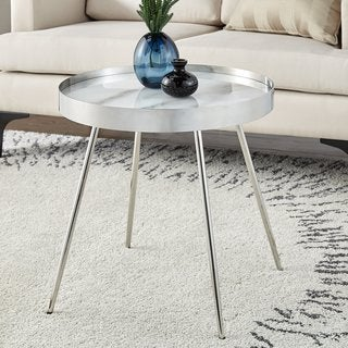 Slavka Stainless Steel Marbled Side Table by iNSPIRE Q Bold