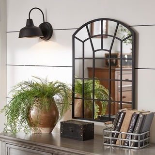 Surise Black Finish Metal Arched Windowpane Wall Mirror by iNSPIRE Q Artisan