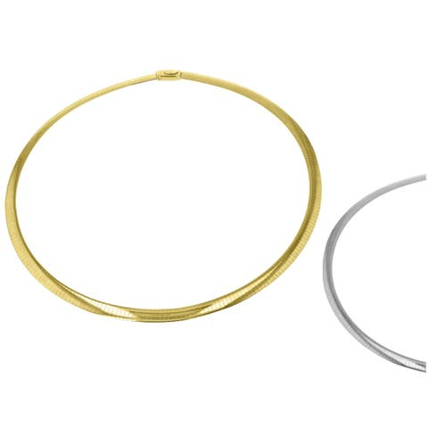 14Kt Two Tone Gold 6 mm Italian Reversible Omega Necklace 18 Inch