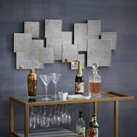Neville Brass Finish Multi Square Antiqued Mirror Wall Decor by iNSPIRE Q Modern