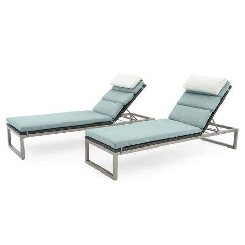 Milo Espresso Chaise Lounges in Spa Blue by RST Brands