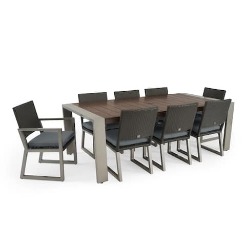 Milo 9pc Espresso Dining Set in Charcoal Grey by RST Brands